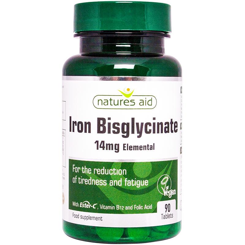 Željezov bisglicinat, 14 mg, tablete